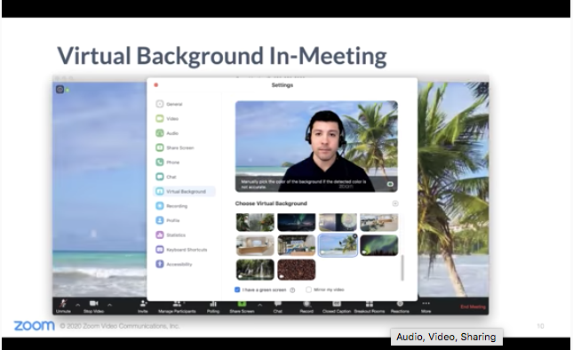 Meet at the Lake: Virtual Backgrounds for your Next Call